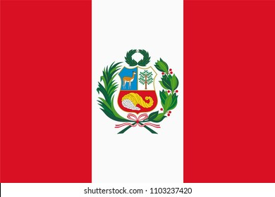 Vector flag of Peru. Proportion 2:3. Peruvian national bicolour flag.