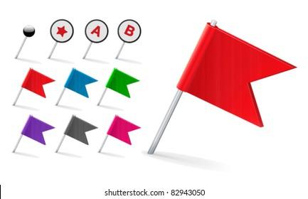 Vector Flag Pin Icon Set