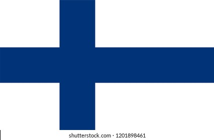 Vector flag of the Republic of Finland. Proportion 11:18. The national flag of Finland. Blue Cross Flag.