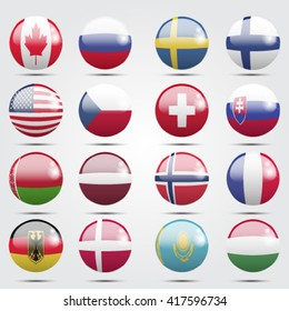 Vector flag set. The 2016 IIHF World Championship.
