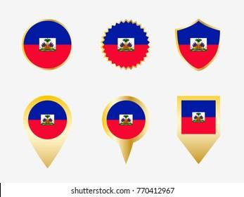 Vector flag set of Haiti