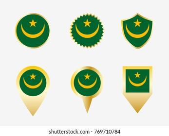 Vector flag set of Mauritania.