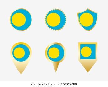 Vector flag set of Palau