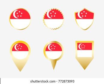 Vector flag set of Singapore