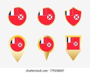Vector flag set of Wallis and Futuna