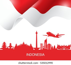 Vector flag and symbols of Indonesia.