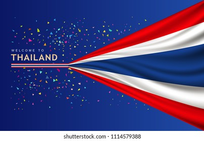 Vector Flag of Thailand banner with colorful paper design on blue background, illustration