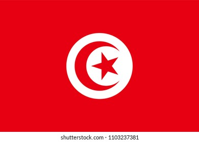 Vector flag of Tunisia. Proportion 2:3. Tunisian national flag.