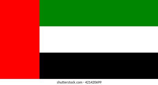 Vector flag of UAE, United Arabian Emirates flag illustration. Official national vector flag of UAE country