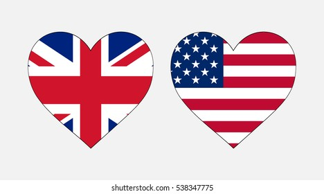 VECTOR Flag of the USA and the UK Heart