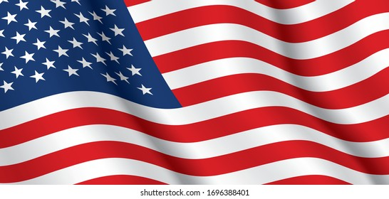 Vector flag of USA. United States of America waving flag background.