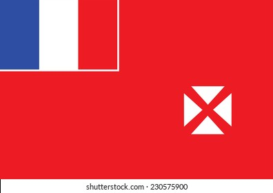 Vector flag of Wallis and Futun, Oceania. Original and simple Wallis and Futuna state flag isolated vector in official colors and proportion correctly.