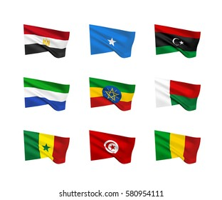 Vector flags (African countries). A set of 9 wavy 3D flags created using gradient meshes. EPS 8 vector