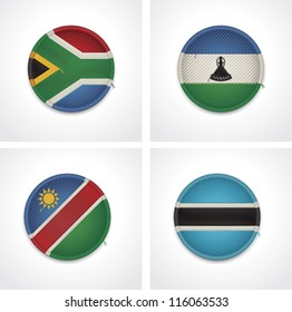 Vector flags of countries as fabric badges icon set. Includes Botswana, South Africa, Namibia and Lesotho flags