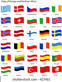 Vector Flags of Europe and Northern Africa with a wavy appearance. See portfolio for more flags.