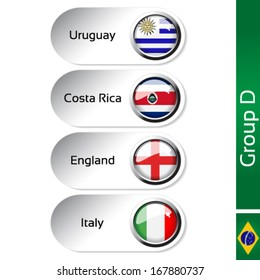 Vector flags - group D - Uruguay, Costa Rica, England, Italy - drawing including all details