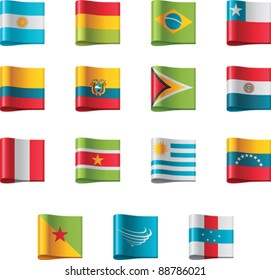 Vector flags icon set. South America, part 12