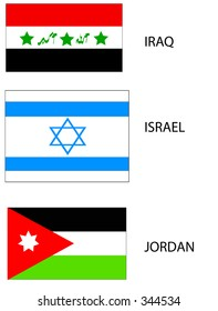 Vector flags of the Middle East: Israel, Jordan, and Iraq