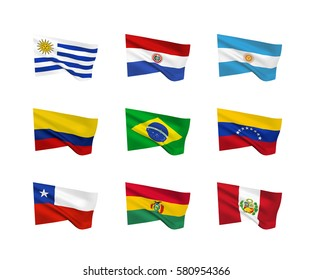 Vector flags (South American countries). A set of 9 wavy 3D flags created using gradient meshes. EPS 8 vector