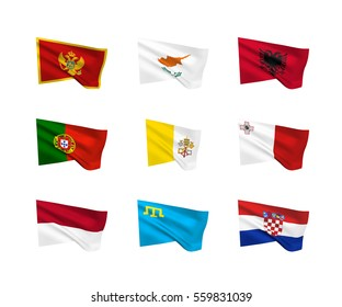 Vector flags (South European countries). A set of 9 wavy 3D flags created using gradient meshes. EPS 8 vector