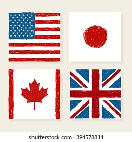 Vector flags of USA Japan Canada and Great Britain in kids style