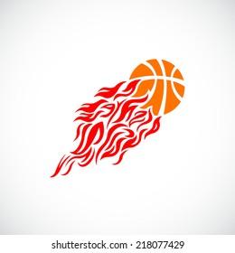vector flame fire ball basketball symbol icon