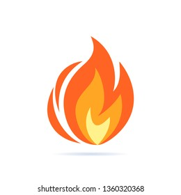Vector flame icon. Simple illustration of fire in flat style