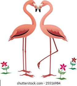 vector flamingo couple