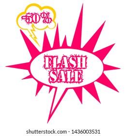 Vector flash sale 50% off vintage promotional background