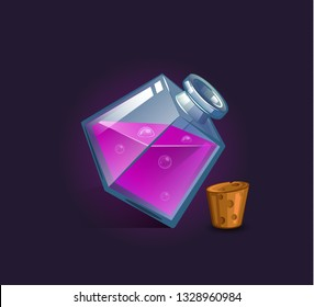 Vector flask, bottle, vessel. Game icon, game item. Magic elixir. Chemical element and herbs for alchemy. Liquid with poison, an elixir restoring health, endurance. Weapon buff.  Fantasy, fiction styl
