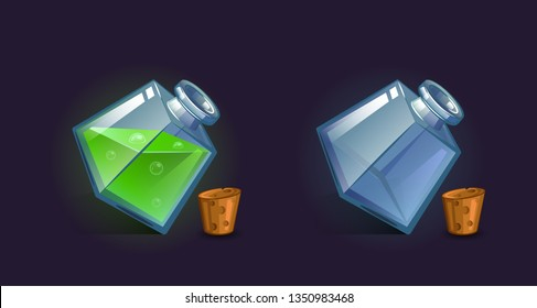 Vector flask, bottle, vessel. Game icon, game item. Magic elixir. Chemical element and herbs for alchemy. Liquid with poison, an elixir restoring health, endurance. Fantasy, fiction style.