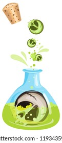Vector flask with witch potion and magical skull in it. Transparent background