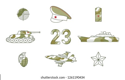Vector flat 23th of february, Russian Defender of the Fatherland Day symbol icon set. Warship boat, armored tank, military aircraft jet, plane, army star and sniper target. Isolated illustration