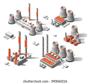 vector flat 3d isometric set factories, Isometric icon set, Set plants for energy production