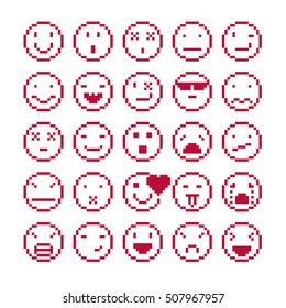 Vector flat 8 bit icons, collection of simple geometric pixel symbols. Simplistic faces of human beings expressing different emotions, digital web signs.