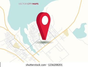 Vector flat abstract city map, with pin pointer, geotag marker