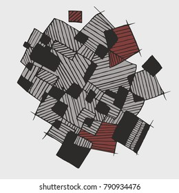 Vector flat abstract geometric  pattern with chaotic stripes in monochrome pastel grey, dark grey, brown colors