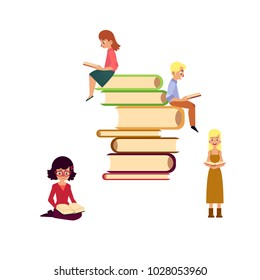 Vector flat adult people reading set. beautiful amazed woman dress reading book, man, girl sitting at book pile with textbook. Isolated illustration white background. Education, library related design