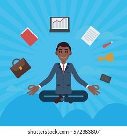 Vector flat african character cartoon business man meditation concept