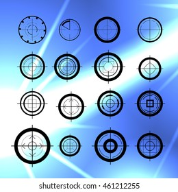 Vector flat aim icons set isolated. Game target symbol collection. Sniper shooting mark group.