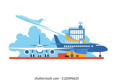 Vector Flat Air Travel Illustration. Aircraft on the Airfield