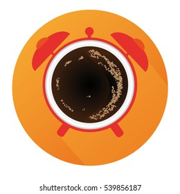 Vector Flat Alarm Clock With Coffee And Long Shadow And Orange Background