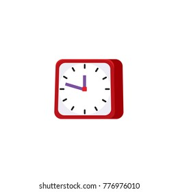 vector flat analog square table red simple modern alarm clock icon for your design. Isolated illustration on a white background.