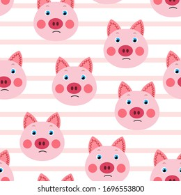 Vector flat animals colorful illustration for kids. Seamless pattern with cute pig face on white striped background. Adorable cartoon character. Design for textures, card, poster, fabric, textile.