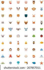 Vector flat animals icon set