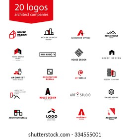 Vector flat architecture company logo collection. Design studio insignia. Architect logo, brick icon. House, apartment and town design bureau and home market brand mark template.