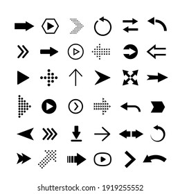 Vector flat arrows set. Clipart for web design, mobile apps, interface and so on