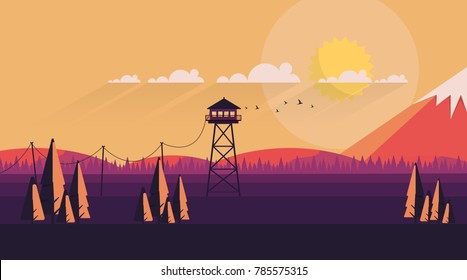 Vector Flat Art Landscape with Fire Lookout Tower