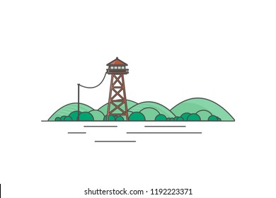 Vector Flat Art landscape with outline stroke design, with fire lookout tower