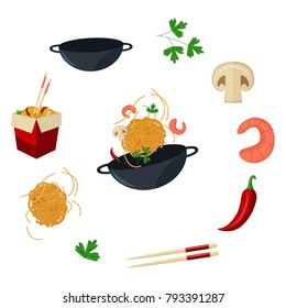 vector flat asian wok symbols set. Udon noodles in paper box, large royal shrimp, chili pepper, sticks, parsley, mushroom, pan. Stir fry eastern fastfood icons for menu design. Isolated illustration